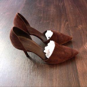 Vince burgundy suede heels
